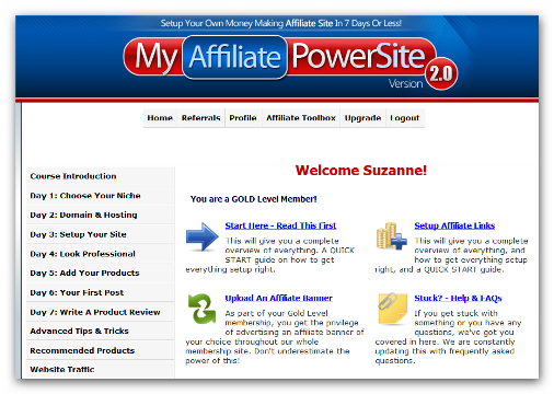 My Affiliate Power Site 2.0 Members Area